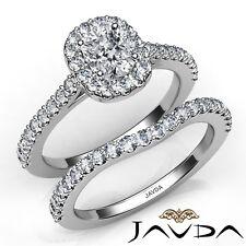 1.66ctw Halo Pave Side Stone Bridal Cushion Diamond Engagement Ring GIA E-VS1