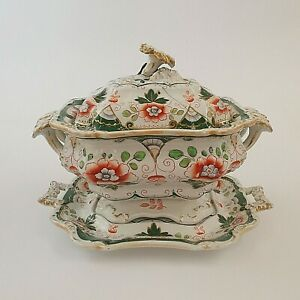 Hicks & Meigh Staffordshire Stone China Lidded Saucer Tureen With Stand Antique
