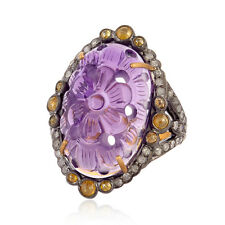 Floral Carved Amethyst Diamond Pave Ring 18k Gold Sterling Silver Women Jewelry