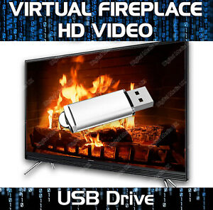 HD VIRTUAL FIREPLACE VIDEOS USB DRIVE - REAL LOG FIRE & SOUND EFFECT - 8 SCENES