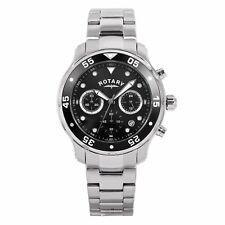 Rotary Men's Quartz Watch with Black Dial Chronograph Display and Silver Stainle