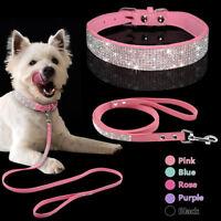 Strasshalsband Hundehalsband mit Leine Welpe Halsband Hundeleine 5 Farben XS S M