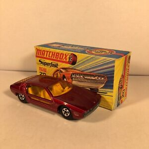 60s.Matchbox Superfast,20 a Lamborghini Marzal,Metallic red.mint in box,Original
