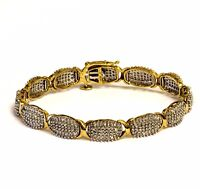 10k yellow gold 3.00ct diamond tennis bracelet 14.1g SI3 I1 I vintage estate 7""