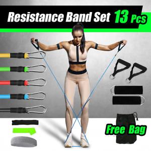 13 PCS Resistance Band Set Yoga Pilates Abs Exercise Fitness Tube Workout Bands