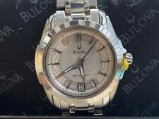 Bulova Precisionist 96M108 Women's Round Mother of Pearl Analog Date Watch