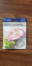 CRAFTERS SQUARE Natural Wood ACCENTS New Painted Flower Purse 10 Piece