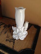 Decorative vintage style white pottery trumpet flower & camelia vase ornament