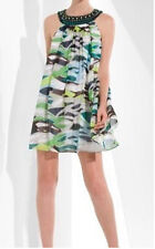 $298 BCBG ULTRA GREEN (OKU6E161) BEADED SILK CHIFFON DRESS NWT 4