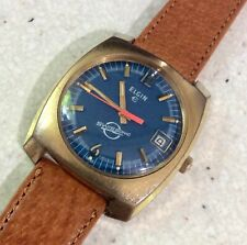 VINTAGE ELGIN SWISSONIC 13J ELECTRO MECHANICAL WRISTWATCH BLUE DIAL WATCH RUNS