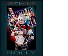 """PERSONALISED HARLEY QUINN CAKE TOPPER 10""""X8"""" A4 ICING SHEET ANY NAME AGE"""