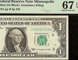 SUPERB GEM 1963 $1 DOLLAR BILL MULE FEDERAL RESERVE NOTE Fr 1900-Im PMG 67 EPQ