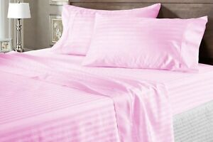 100% Cotton Glamorous Pink Sheet Collection Striped 1000 TC Select Item & Size