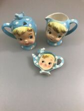 Vintage Napco Miss Cutie Pie Tea Bag Holder Blue 1950s Girl Cute