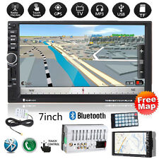 "GPS Nav 7"" HD 2DIN Touch Bluetooth Car Stereo Radio MP3 Player USB/TF/AUX/FM+Map"