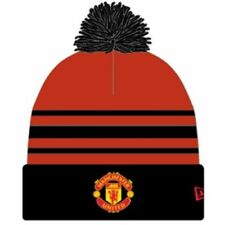 MANCHESTER UNITED  NEW ERA RED & BLACK POM BEANIE OFFICIALLY LICENSED