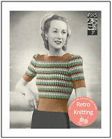 Rainbow Jumper 1940s Vintage Wartime Knitting Pattern - Copy