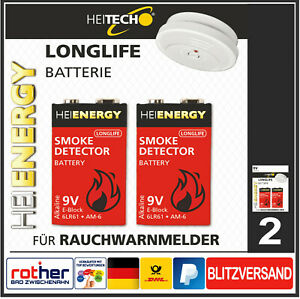 Heitech Longlife 9Volt E-Block Batterie für Rauchmelder 2er Blister