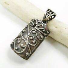925 Sterling Silver Scroll Ornate Oval Cylinder Prayer Box Locket Charm Pendant