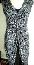 LONDON TIMES MS SZ 10 BLACK & WHITE PRINT KNOT FRONT LAYERED LOOK FASHION DRESS