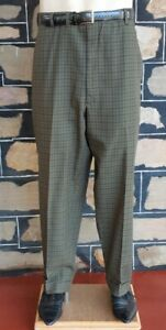 1950's Olive Checked,turned up cuff, gaberdine pant, USA by 'Hart Schaffner &...