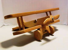 Vintage Hanmade Wooden Toy Single Prop Airplane