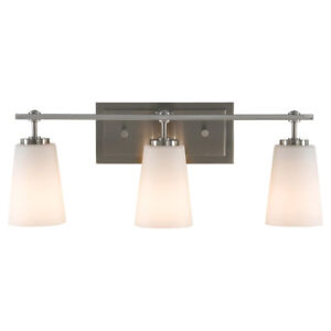 Feiss Sunset Drive 3 - Light Vanity Fixture, Brushed Steel