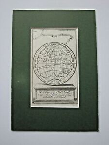 1736 Bowen Old World Before the Flood Antique Map Gentlemans Magazine Genesis