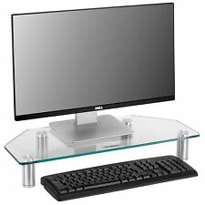 VonHaus Clear Glass Corner Computer Monitor TV Screen Display Riser Shelf Stand
