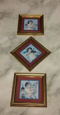 Home Interiors Homco Set of 3 Cherub Angel Pictures Instruments Framed