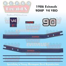 1986 Evinrude 90 HP V4 Outboard Reproduction 10Pc Marine Vinyl Decals Two Stroke