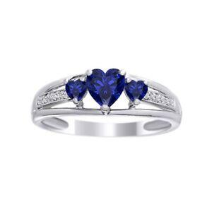 Heart Three Stone Sapphire & Diamond Engagement Ring in 14K White Gold Over