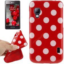 TPU Case für LG E455 Optimus L5 II Dual in rot mit weißen Punkten Etui Hülle