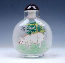 Peking Glass Inside Zodiac Sign Pig Reverse Hand Painted LARGE Snuff Bottle