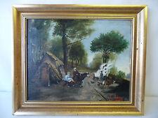 Huile sur toile Scène de genre Famille dans les bois signé A. Antoine Début XX