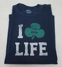 Men's Life is Good T Shirt Shamrock Large
