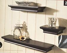 3 set vintage style wood effect floating shelves shelf