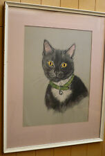 Gladys Emerson Cook LISTED, CUTE CAT KITTEN BIG EYED c1950 Large PRINT 50s FRAME