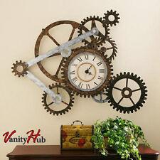 Rustic Metal Wall Clock Modern Industrial Gears Steampunk Home Decor Urban Loft