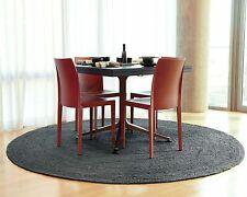 Jute Rugs 100% Natural Black Handmade Floors Round Feet Area Carpet Modern Rug