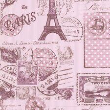 PINK VINTAGE PARIS EIFFEL TOWER TEXTURED FEATURE WALLPAPER A.S.CREATION 93630-2