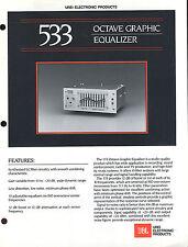 Vintage JBL Urei 533 Octave Graphic Equalizer Manual PA Technical Manual Sheet