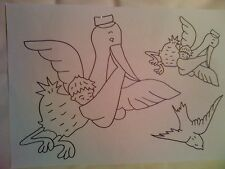 Webster Craft Stork & Baby iron on embroidery transfers 3 x A4 sheets