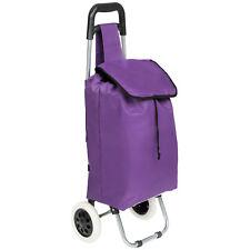 Trolley sacca per la spesa con 2 ruote carrello con borsa pieghevole porpora nuo