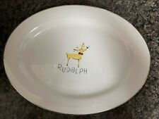 "Pottery Barn RUDOLPH Reindeer 17"" Oval Serving Platter Holiday Japan Christmas"