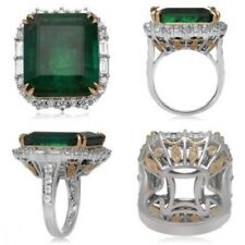 Green Emerald 925 Sterling Silver Halo Style Two Tone Huge CZ Cocktail Fine Ring