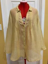 EILEEN FISHER Yellow Linen Long Sleeve Buttoned Tunic Blouse, Large