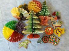 Job Lot Vintage Honeycomb Decorations Christmas Trees, Bell, Balls etc