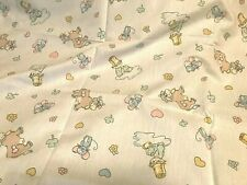 New listing Very Cute Vtg Baby Quilt Sheet Bedding Fabric Little Boy Cow Mouse Heart Flowers