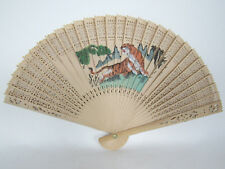 "Vintage 1950s 60s Japanese Hand Painted Bamboo Hand Fan Tiger Fowers 8"" Long"